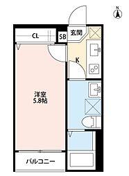ミライオ板橋(ミライオイタバシ)[201号室]の間取り