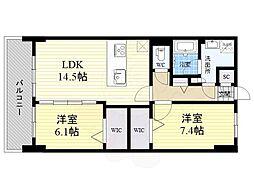 ラフィーネ グラン室見 4階2LDKの間取り