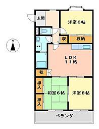 ヴィラ上小田井壱番館[3階]の間取り