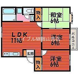 ファミーユ平野 A棟[2階]の間取り