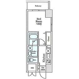 JR総武線 小岩駅 徒歩4分の賃貸マンション 8階1Kの間取り