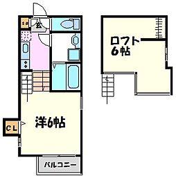 兵庫県西宮市郷免町の賃貸アパートの間取り