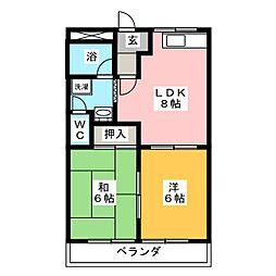 三重県桑名市東正和台6丁目の賃貸マンションの間取り