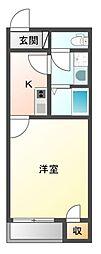 JR赤穂線 大多羅駅 徒歩17分の賃貸アパート 2階1Kの間取り