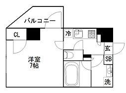 オーギュメント牛込神楽坂 5階1Kの間取り
