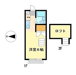 愛知県名古屋市西区貴生町の賃貸アパートの間取り