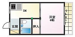 シャルマン淀江 4階1DKの間取り