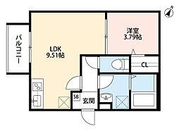 阪神なんば線 千鳥橋駅 徒歩14分の賃貸アパート 3階1LDKの間取り