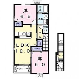 埼玉県熊谷市上根の賃貸アパートの間取り