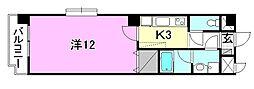 United SQUARE 4階1Kの間取り