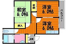 岡山県倉敷市玉島柏島丁目なしの賃貸アパートの間取り