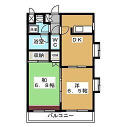 アビタシオン南葛西 2階2DKの間取り