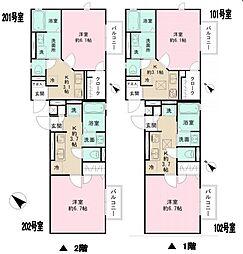 JR横浜線 町田駅 徒歩5分の賃貸アパート 2階1Kの間取り