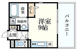 ALMO姫路駅前 5階ワンルームの間取り