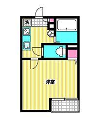 西武多摩川線 新小金井駅 徒歩6分の賃貸アパート 1階1Kの間取り