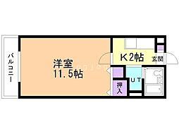 エテルノ岡本 1階1Kの間取り