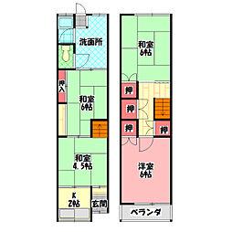 京阪本線 西三荘駅 徒歩9分の賃貸テラスハウス 1階4Kの間取り