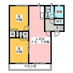 シンフォニークスド A棟[2階]の間取り