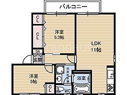 シャーメゾン清風 B棟[2階]の間取り