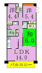 松戸中央公園パークホームズ弐番館[302号室]の間取り