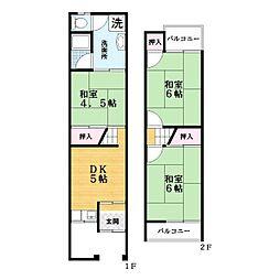 [テラスハウス] 大阪府大東市三箇6丁目 の賃貸【/】の間取り