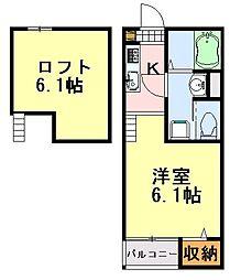 千葉県千葉市中央区末広1丁目の賃貸アパートの間取り