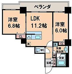 カスタリアタワー長堀橋 7階2LDKの間取り