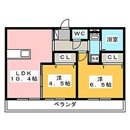 岡山県岡山市南区洲崎2丁目の賃貸アパートの間取り