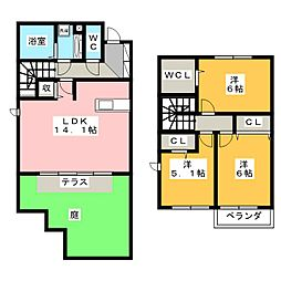 [テラスハウス] 栃木県宇都宮市鶴田町 の賃貸【/】の間取り