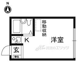 阪急京都本線 総持寺駅 徒歩7分の賃貸アパート 2階ワンルームの間取り