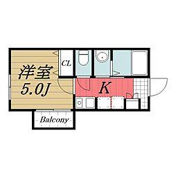 京成本線 京成成田駅 バス8分 土屋下車 徒歩6分の賃貸アパート 2階1Kの間取り