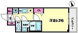 プレサンスOSAKA DOMECITYスクエア 8階1Kの間取り