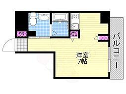 リンクハウス南堀江 6階1Kの間取り