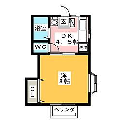 ミユキハイツII[1階]の間取り