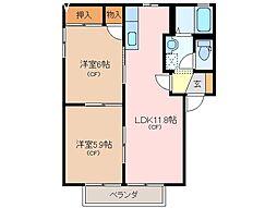三重県松阪市五反田町1丁目の賃貸アパートの間取り