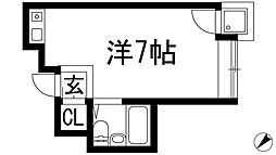 大阪府箕面市新稲1丁目の賃貸マンションの間取り