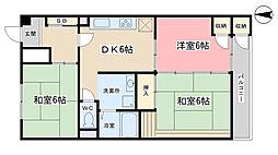 山科音羽マンションA棟[413号室]の間取り