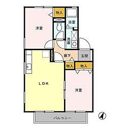東京都武蔵村山市大南4丁目の賃貸アパートの間取り