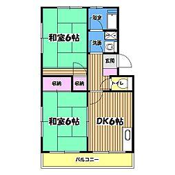 東京都昭島市上川原町2丁目の賃貸マンションの間取り