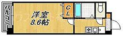 福岡県福岡市中央区鳥飼2丁目の賃貸マンションの間取り