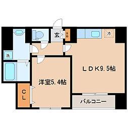 県庁前レジデンス 3階1LDKの間取り