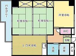 ニシキグレイス浅野[302号室]の間取り