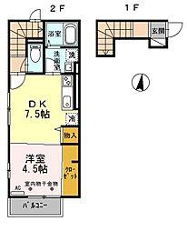 西武池袋線 東久留米駅 徒歩23分の賃貸アパート 2階1DKの間取り