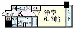 阪急京都本線 淡路駅 徒歩2分の賃貸マンション 6階1Kの間取り