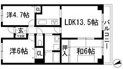ガーデン甲東[2階]の間取り