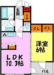 阪急甲陽線 苦楽園口駅 徒歩5分の賃貸マンション 2階1LDKの間取り