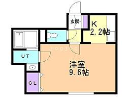 ポラリス恵み野駅前 1階1Kの間取り