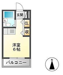 ヤマトビル 2階ワンルームの間取り