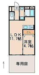 JR紀勢本線 紀和駅 徒歩8分の賃貸マンション 1階1LDKの間取り