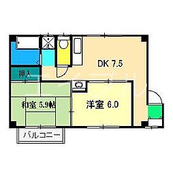 高知県高知市朝倉己の賃貸マンションの間取り